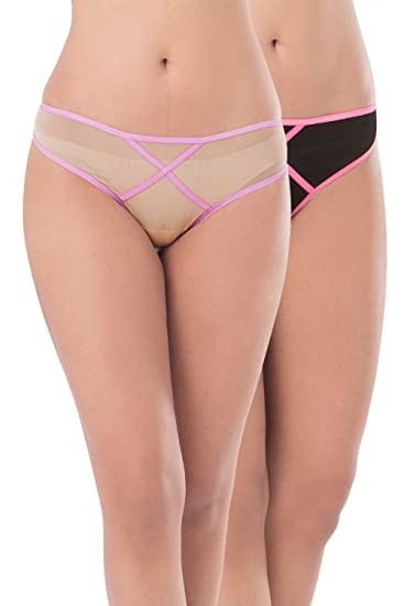 9125d3c82 Amazon.com  PrettySecrets Women s Mesh Sexy Thong Panty (Pack of 2) Black  and Nude  Clothing