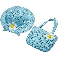 SUNNSEAN Sombrero y Bolso de Paja para Niños Verano Gorra de Sol Chica y Bolsillo Set con Decoracion de Flores Gorro de…