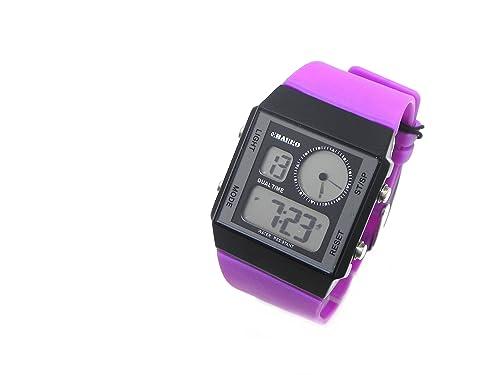 El Charro Dual Time reloj digital unisex hombre mujer Allarm Data goma Morado Black Dial ch10921bv: Amazon.es: Joyería