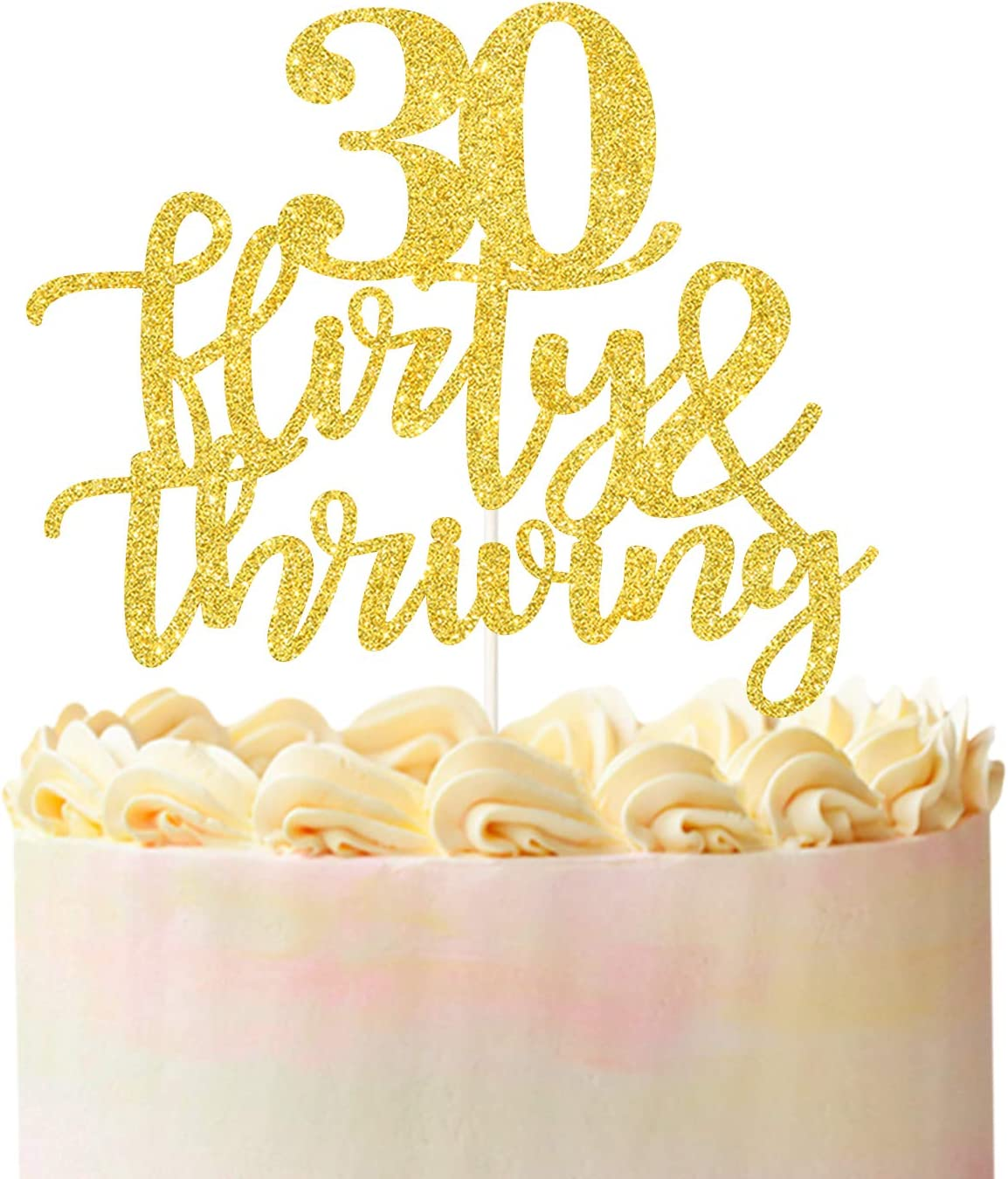 30 Flirty & Thriving Cake Topper, Funny 30th Birthday Party Decor,Dirty Thirty Cake Topper,Birthday Party Decorations Supplies