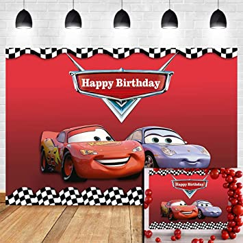 Amazon Com Racing Cars Cartoon Red Theme Photography Backdrops Vinyl For Children Little Boy Birthday Party Banner Decoration White And Black Check Flag Photo Backgrounds Studio Props Dessert Table 5x3ft Camera