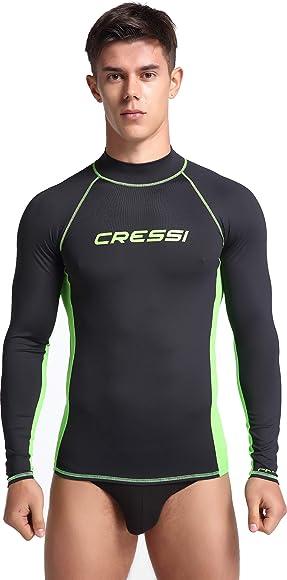 Cressi Rash Guard Man Long SL Camiseta Mangas Largas, en Tejido Elástico Especial, Protección Solar UV (UPF) 50+, Hombres, Negro/Kiwi, 2XL: Amazon.es: Deportes y aire libre