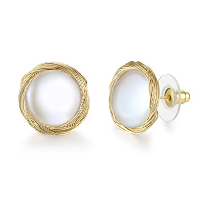 7f0e27abf78 14K Gold Handmade Twisted Large Pearl Stud Earrings for Women (14K Gold  Plated Silver