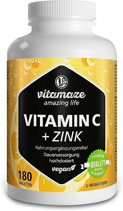 Vitamaze Vitamina C Pura 1000 Mg Alto Dosaggio Zinco 180 Compresse Vegan Per 6 Mesi Vitamin C Dose Forte Qualita Tedesca Naturale Integratore Alimentare Senza Additivi Non Necessari Amazon It Salute E