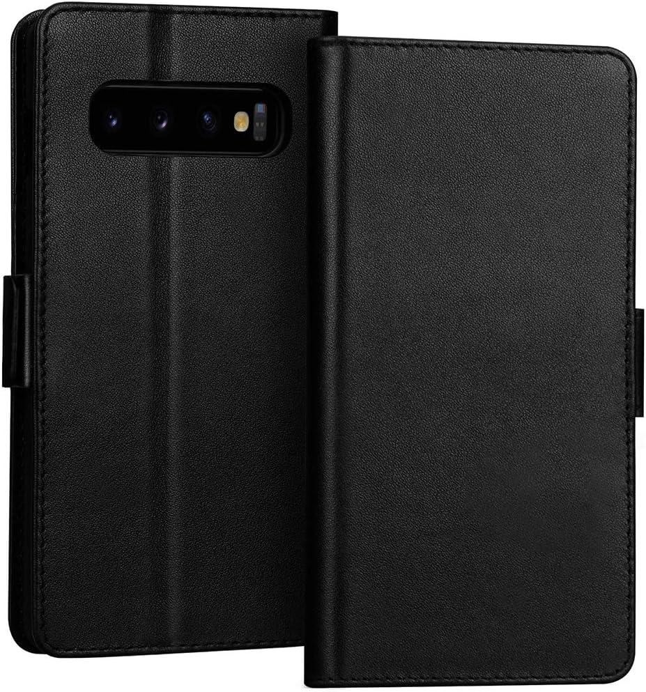 DENDICO Leder Handyh/ülle Wallet Case f/ür Samsung Galaxy S10 Plus Schutzh/ülle Klapph/ülle mit Magnetic Snap und Kartensteckpl/ätze Blau Galaxy S10 Plus H/ülle