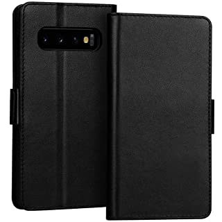 "FYY Samsung Galaxy S10+ Plus 6.4"" Luxury [Cowhide Genuine Leather][RFID Blocking] Handcrafted Wallet Case, Handmade Flip Folio Case with [Kickstand Function] and[Card Slots] for Galaxy S10+ Plus Black"