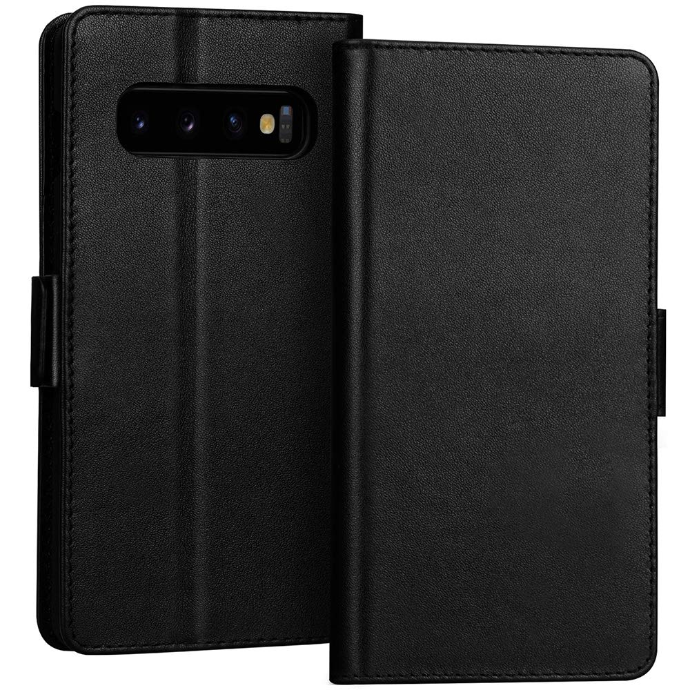FYY Samsung Galaxy S10+ Plus 6.4'' Luxury [Cowhide Genuine Leather][RFID Blocking] Handcrafted Wallet Case, Handmade Flip Folio Case with [Kickstand Function] and[Card Slots] for Galaxy S10+ Plus Black
