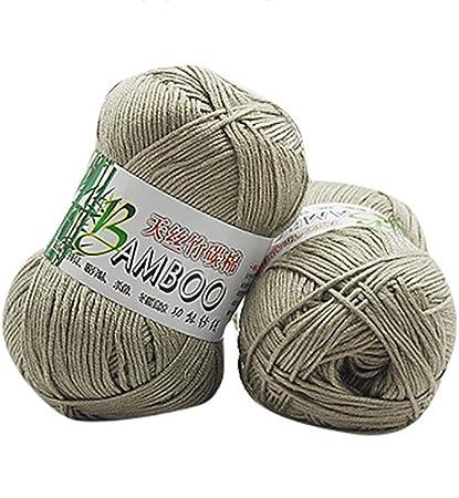 gaddrt Multicolor Crochet lana 30% algodón 70% bambú fibra de bambú algodón lana para tejer ovillo de lana 50 G B ...