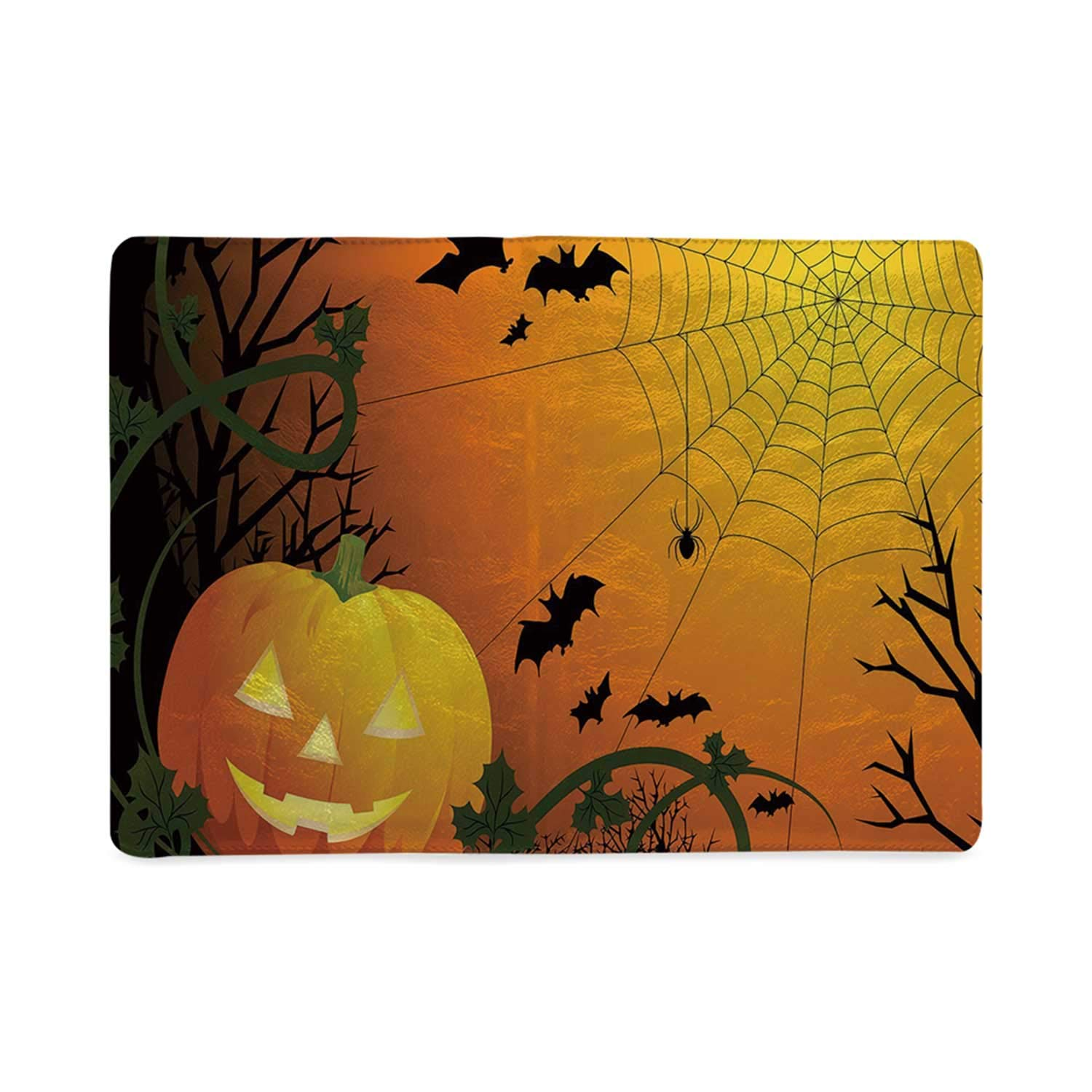 Spider Web Utility Notebooks,Halloween Themed Composition with Pumpkin Leaves Trees Web and Bats Decorative for Work,8.26''W x 10.86''H by MOOCOM