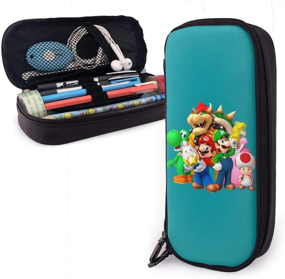Estuche para lápices Super Mar-io Bros. - Estuche de cuero de PU de alta capacidad con doble cremallera, organizador de escritorio, bolsa de maquillaje cosmético multifunción: Amazon.es: Oficina y papelería