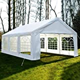 feelway 20x20 heavy duty party tent carport wedding canopy steel wsidewalls white