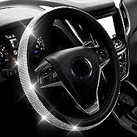 غطاء عجلة القيادة من الجلد الماسي الجديد مع احجار الراين الكريستالية اللامعة، مقاس عالمي 15 انش غطاء واقي لعجلة السيارة…