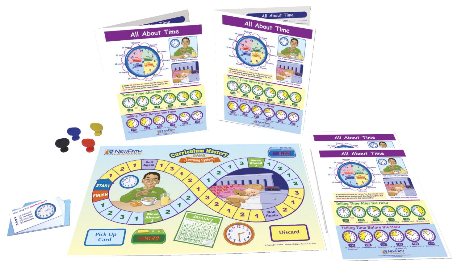"""- Game Board Grades 3-5 NewPath Learning 23-6947 Fraction Concepts Learning Center Game Laminated /""""Write-On//Wipe-Off/"""" Learning Guides 30 Illustrated Game Cards and Four 4-Panel"""