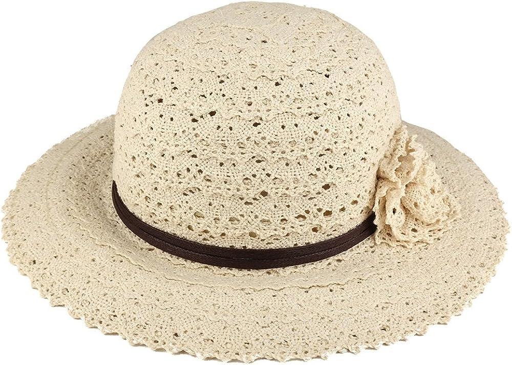 Trendy Apparel Shop Girls Corcheted Flower Band Large Brim Summer Hat