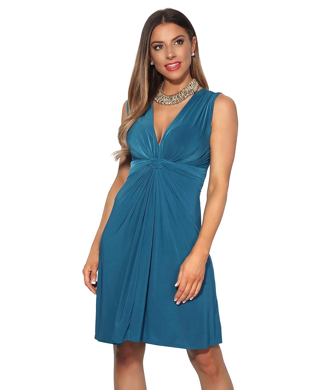 TALLA 42. KRISP Vestido Corto Patinadora Vuelo Fruncido Busto Verde Azulado (9354) 42