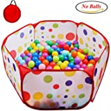 "POCO DIVO Toddler Playpen Polka Dot Ball Pit 47"" Twist Pool Kids Popup Hexagon Play Tent"