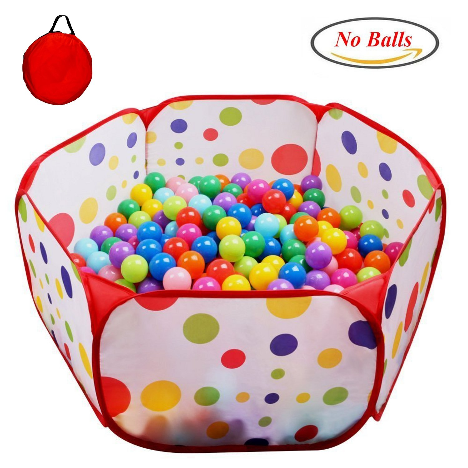 POCO DIVO Toddler Playpen Polka Dot Ball Pit 47 Twist Pool Kids Popup Hexagon Play Tent