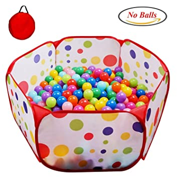 POCO DIVO Toddler Playpen Polka Dot Ball Pit 47u0026quot; Twist Pool Kids Popup Hexagon Play  sc 1 st  Amazon.com & Amazon.com: POCO DIVO Toddler Playpen Polka Dot Ball Pit 47
