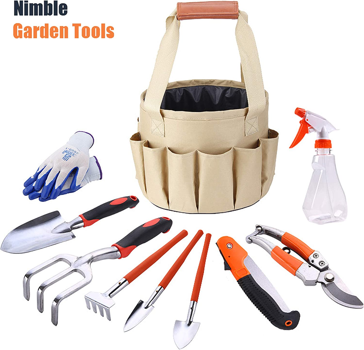 Garden Tools Set - Collapsible Gardening Bag,10 Piece Heavy Duty Gardening Kit,Gardening Tools with Garden Gloves,Garden Tote,Garden Trowel Pruners and More, Gardening Gifts Tool Set for Family