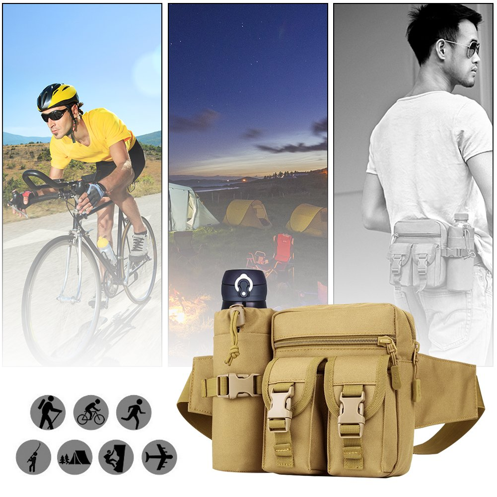 REDGO Tactical Waist Bag with Water Bottle Pouch Waterproof Bum Bag Military Utility Canvas Fanny Pack Bumbag for Jogging Hiking Walking Bike Cycling Climbing Outdoor