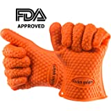 Oven Gloves Heat Resistant, BBQ Gloves, Oven Mitts Heat Resistant For Protect Your Hands from Grilling, Baking, Smoking, Cooking- 1 Size Fits Most of All(Orange) - FDA Approved Oven Mitts