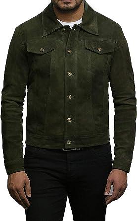 Brandslock Hombres chaqueta de cuero de motorista Camionero Casual de cabra verde de gamuza camisa de cuero Jeans Jeans Estilo: Amazon.es: Ropa y accesorios