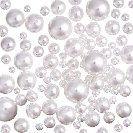 Bianco Compleanno Festa Casa Decorazione 80 Pezzi Dimensioni Assortite Perline di Perle Simulate per Riempitori di Vaso Gioielli Fai Da Te Matrimonio