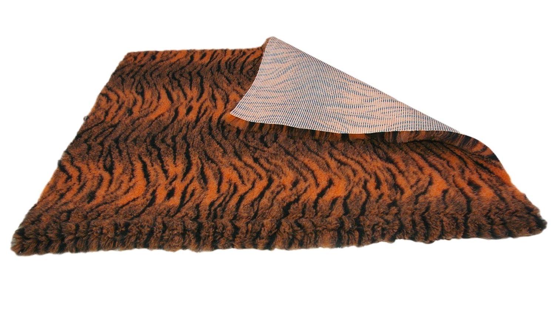 51cm x 100cm (20'' x 40'') SoulPet Tiger Print Grey Black High Grade Vet Bedding NonSlip back Bed Fleece for Pets