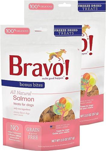 Bravo Bonus Bites All Natural Freeze Dried Salmon Dog Treats – Grain Gluten Free – 2 Ounce Bags
