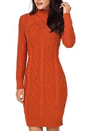 c8e65d0f57e Meenew Women s Knee Length High Neck Stretchy Tight Sweater Dress Orange S