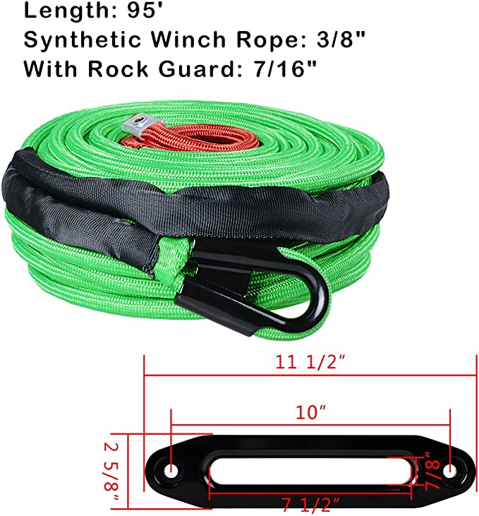 "Black HOOK 3//8/"" 95ft ORANGE 22000LBS Synthetic Winch Rope All Rock Guard 7//16/"""