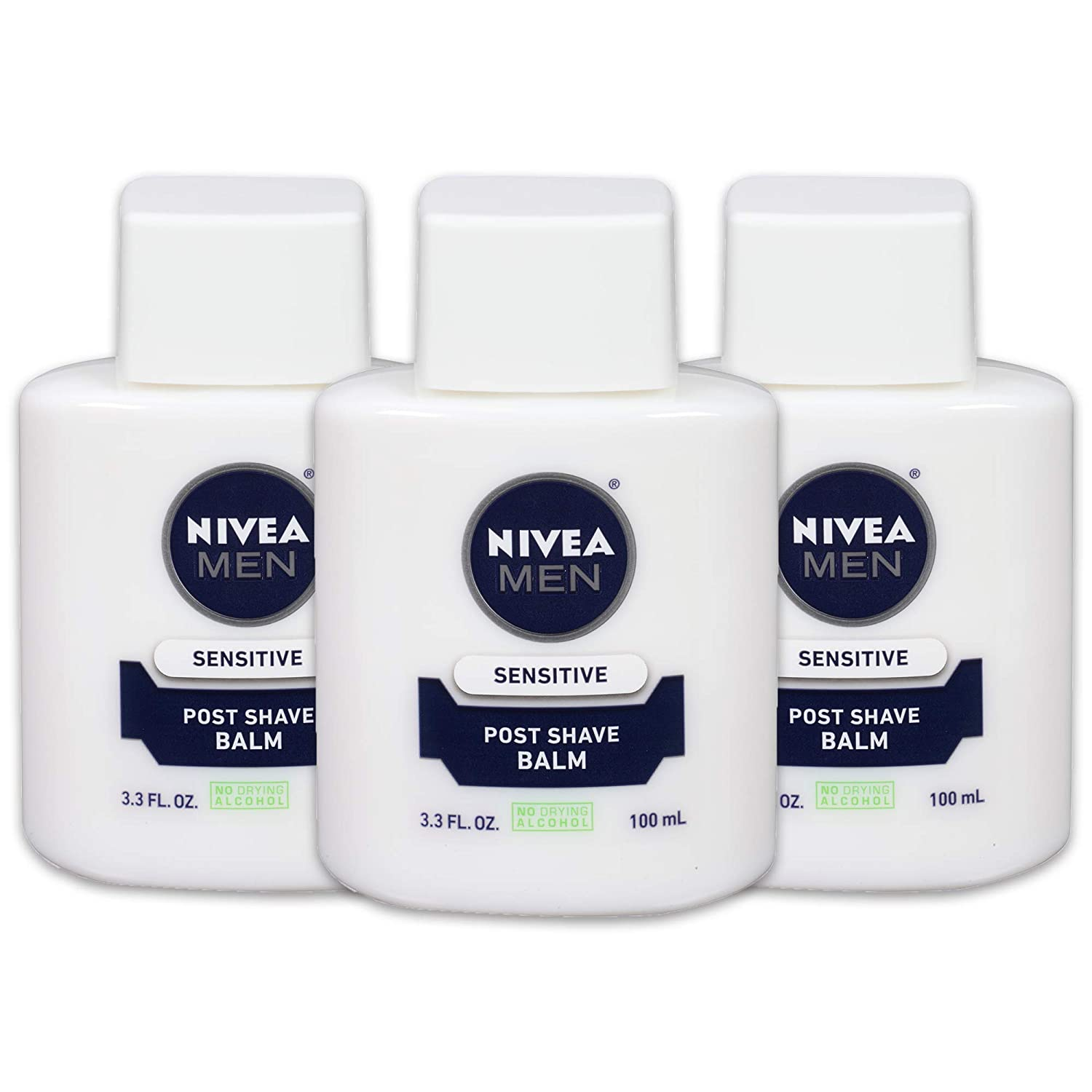NIVEA Men Sensitive Post Shave Balm - Soothes and Moisturizes Skin After Shaving - 3.3 fl. oz. Bottle (Pack of 3)