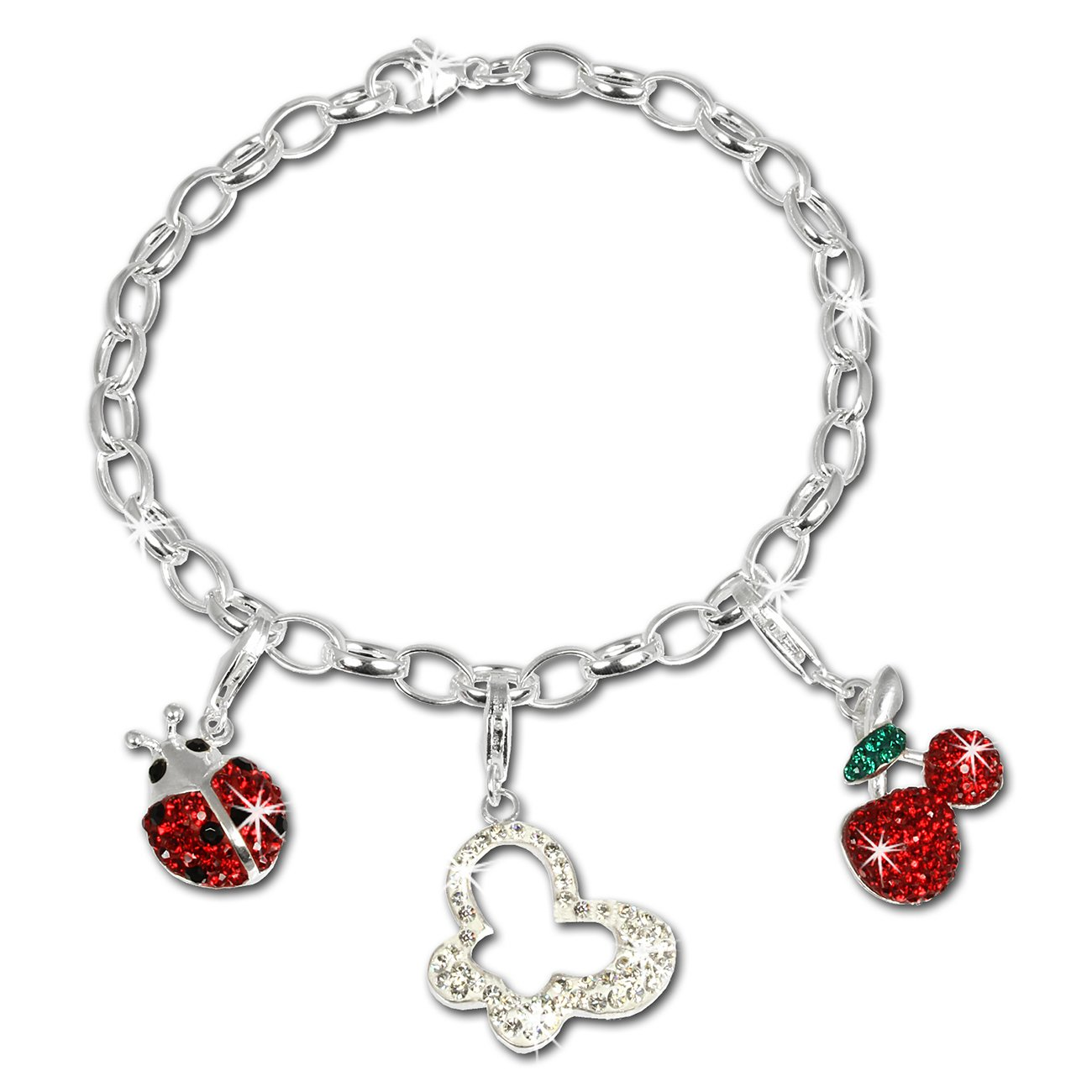 SilberDream Charms Armband Glitzerset - Natur - Swarovski Elements 925 Sterling Silber Charm Armband und Anhänger - FCA141 Charms Sets