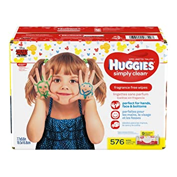 huggies simply clean fragrance free baby wipes soft pack 576 count