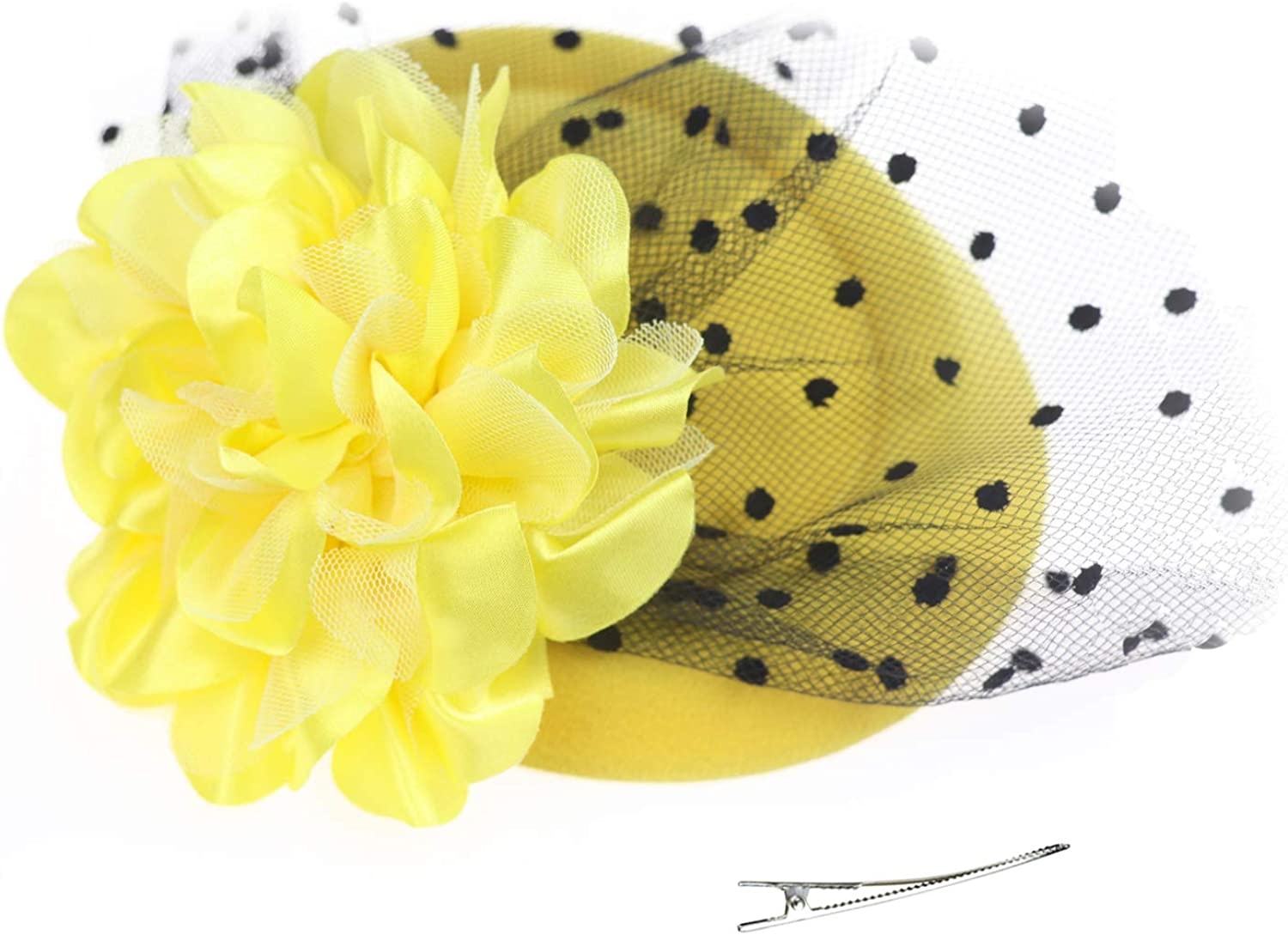 DRESHOW Fascinator Hat Cocktail Tea Party Bow Hat Netted Pillbox Hat with Hair Clip and Headband for Women and Girls