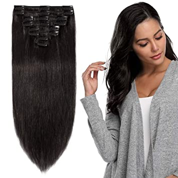 00273614d8c Clip in Hair Extension Human Hair Full Heal Real Remy Hair Extensions  Standard Weft 8 Pieces Straight (16