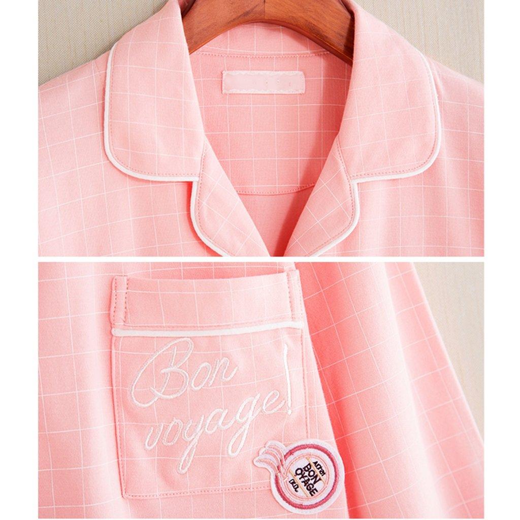 Xing Hua home Pijama otoñal de algodón de cuadros de a cuadros nuevas parejas de rebecas rosadas de cuadros manga larga conjunto de homewear de algodón azul (Size : W170(xl)) b8d5f7