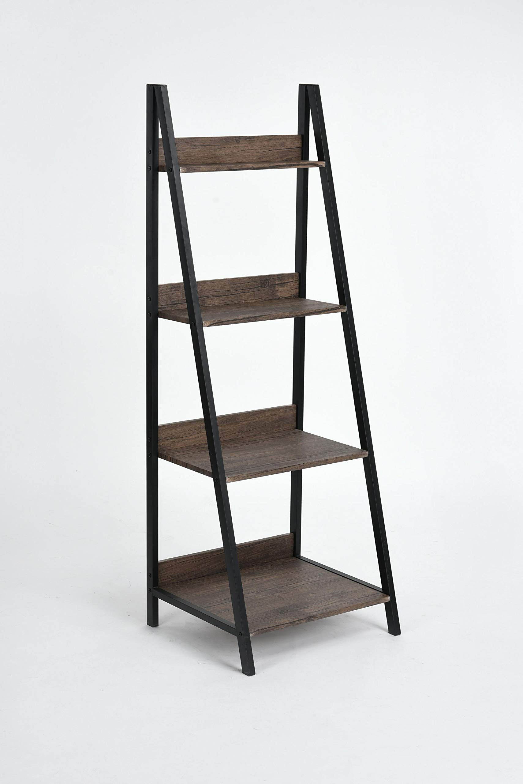 None Vintage Dark Brown Finish 4-Tier Shelves Leaning Ladder Bookcase Bookshelf Display Planter by None