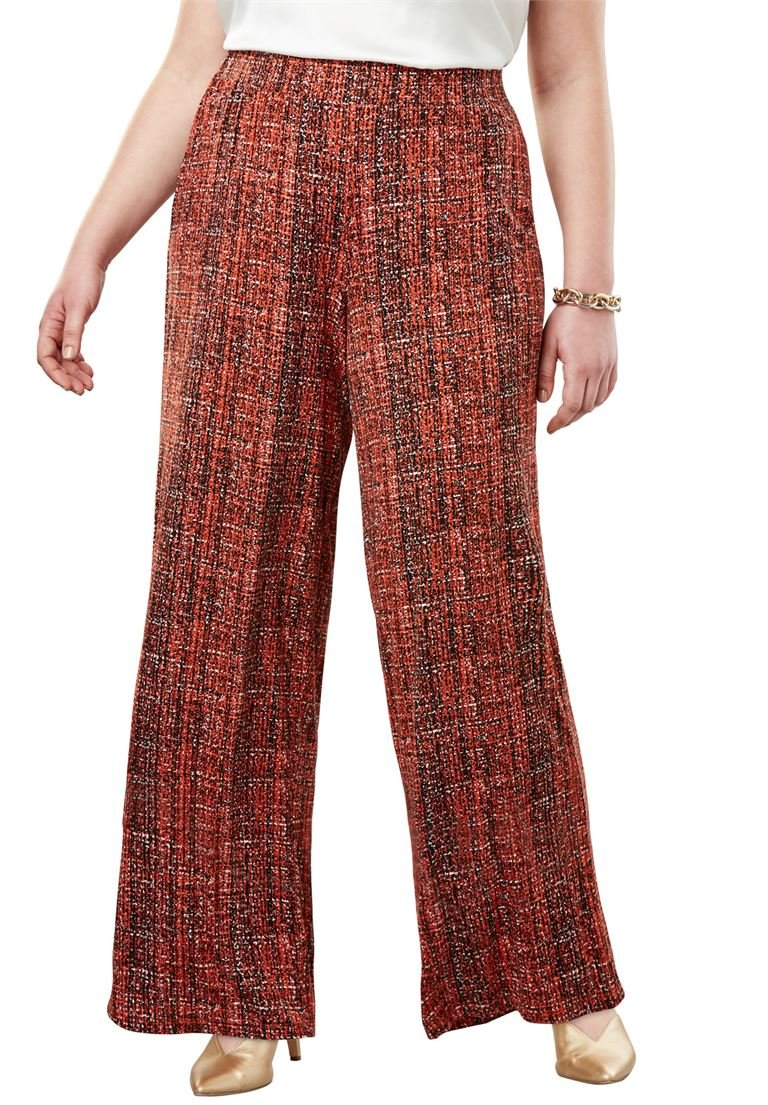 Jessica London Women's Plus Size Everyday Knit Palazzo Pants Burnt Red