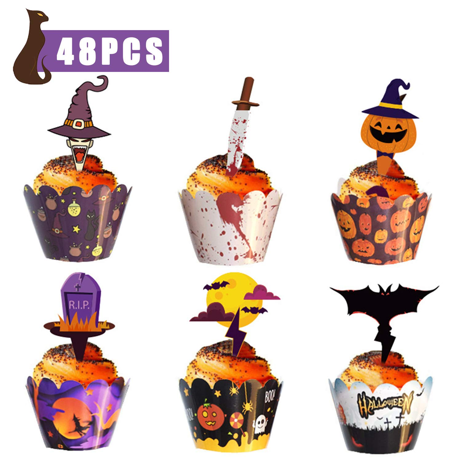 Halloween Cake Toppers Decorations, Cake Paper Cups, Cupcake Decoration Wrapper Cases, 48 Pieces Halloween Cupcake Decorations Set, Used for Halloween Baking, Birthday Parties, Ghost Festivals