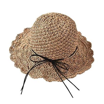 hhGold Sombrero de visera Sombreros para el sol Sombrero de paja Mujer  Verano Pequeño Fresco Plegable 443b4050615