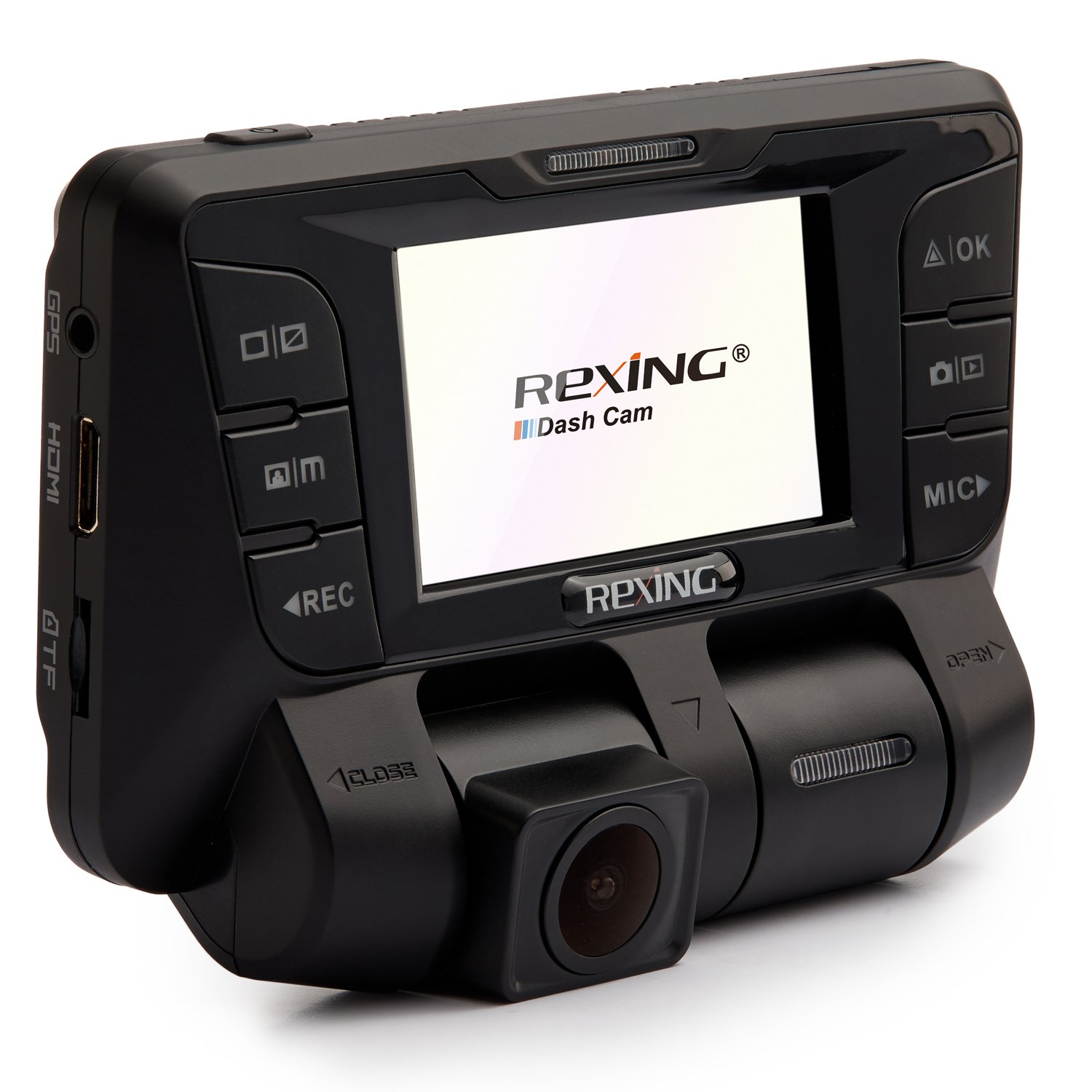 Rexing V2 Front + Back Dual Camera 1080p Full HD Wi-Fi Ultra Wide Angle LCD Screen Car, Uber, Taxi Dash Cam