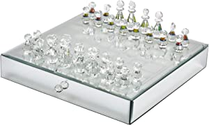Sagebrook Home 14461 Crystal/Mirrored Chess Set,Silver