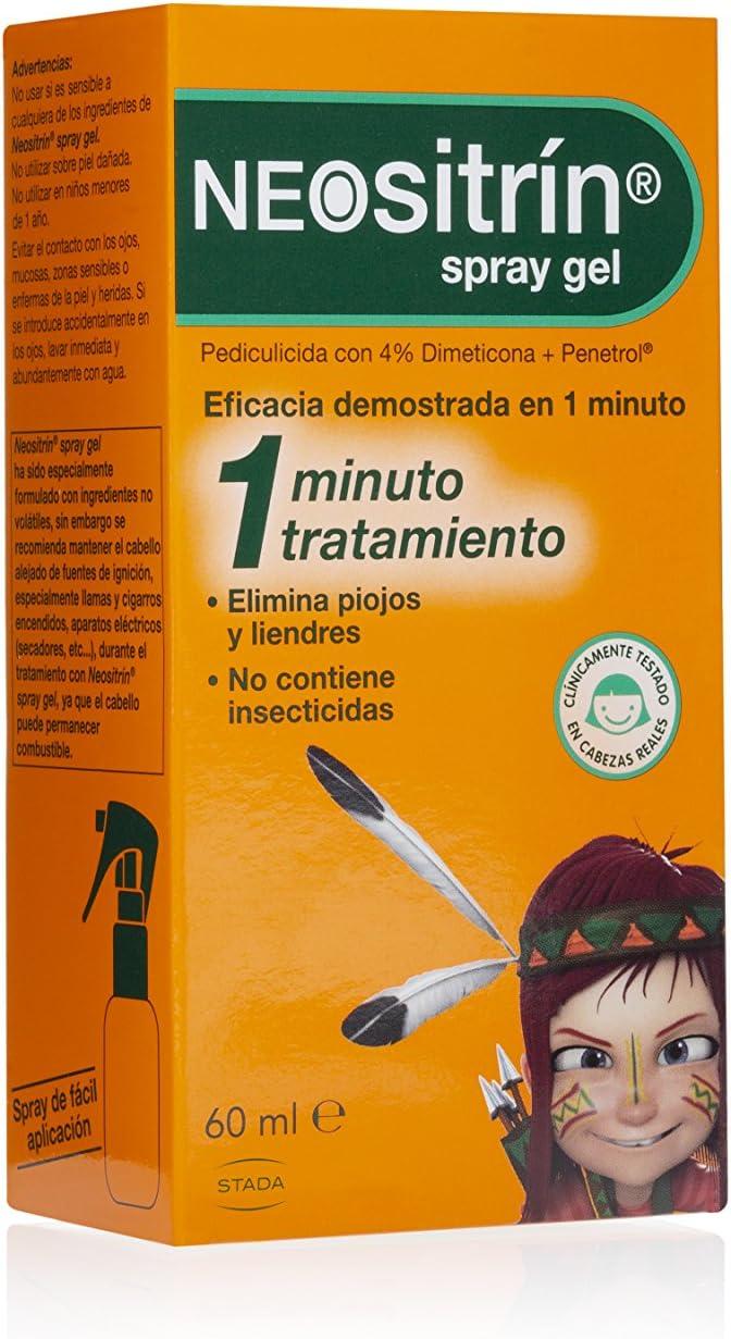 Neositrin Spray gel tratamiento para eliminar piojos y liendres en 1 minuto -60ml: Amazon.es: Salud y cuidado personal