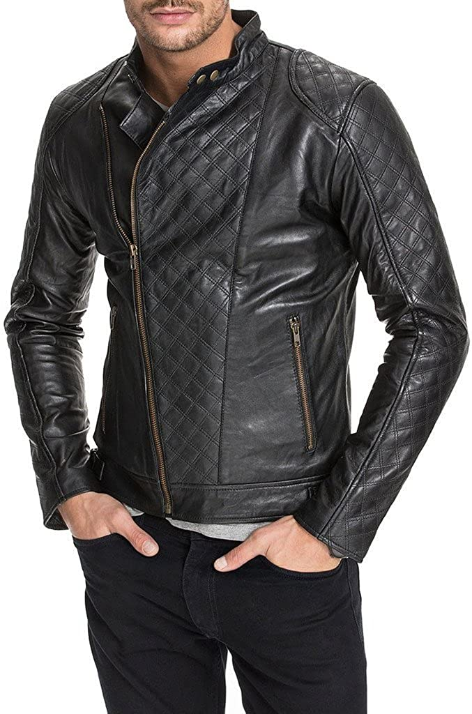 New Mens Leather Motorcycle Jacket Slim Fit Leather Coats LF595