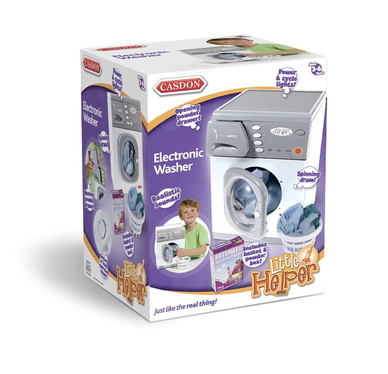 Casdon 476 Toy Electronic Washer 1to2 3to4 Dressing_Up_and_Make_believe Role-play