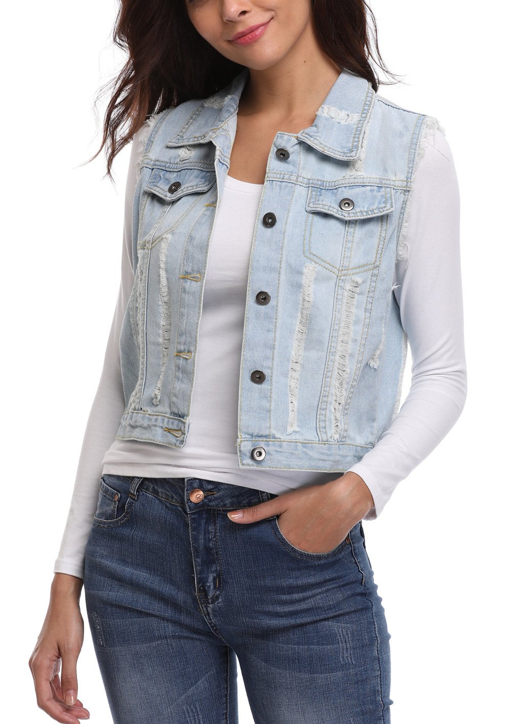 MISS MOLY Women's Frayed Washed Sleeveless Turn Down Collar Buttoned w 2 Chest Flap Pockets