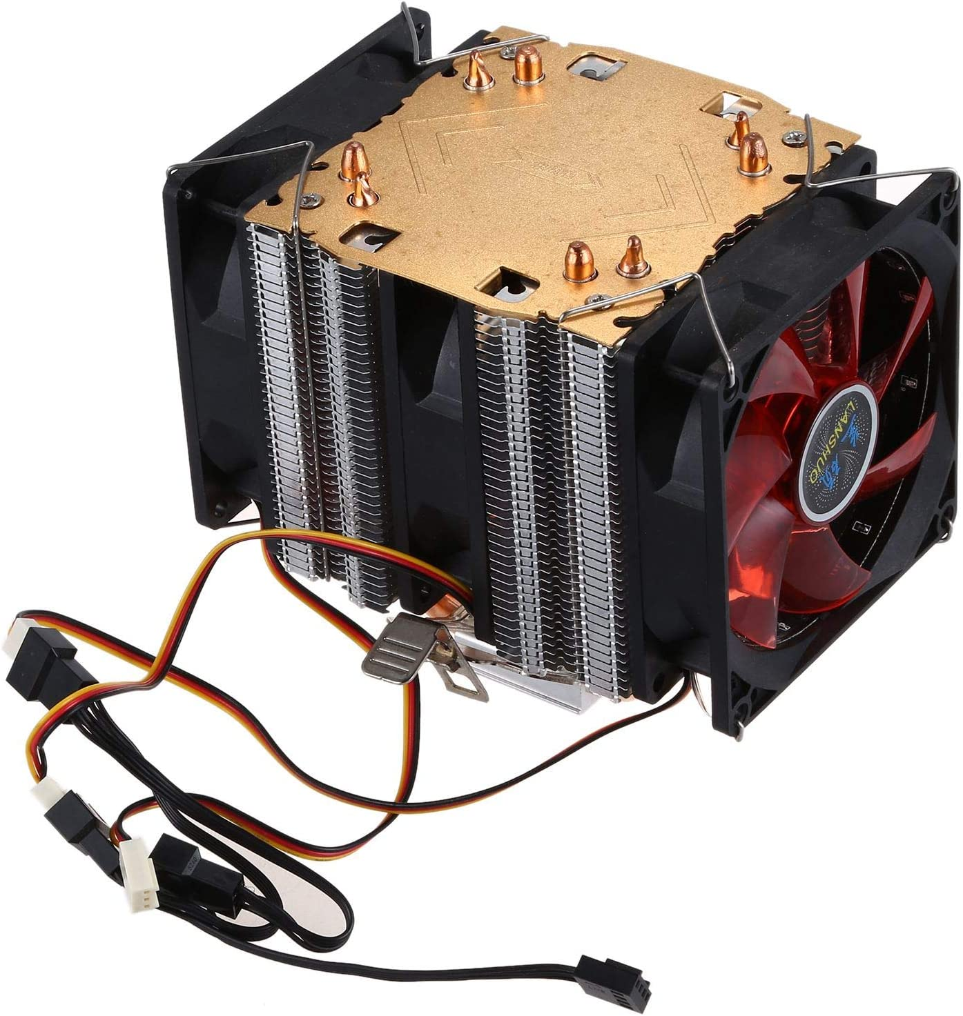 Black+Yell LANSHUO Pure Copper 4 Heat Pipe for 1366 1155 775Intel//AMD Multi-Platform CPU Radiator 3 Wire with Light Three Fans