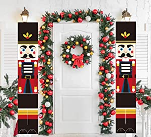 Wooproo Nutcracker Christmas Decorations Outdoor Xmas Decor Life Size Soldier Mode Christmas Banners for Front Door, Garden, Christmas Party (Black)