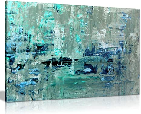 """Abstract Artwork Modern Canvas Painting Teal Abstract Wall Art Painting for Living Room 34/"""" x 20/"""" x 3 Panels"""